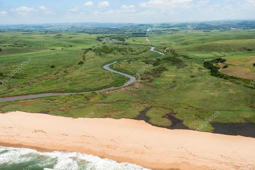 Air Birds Eye View Beach River Green Fields