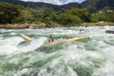 Canoe Broken  Rocks River Rapids