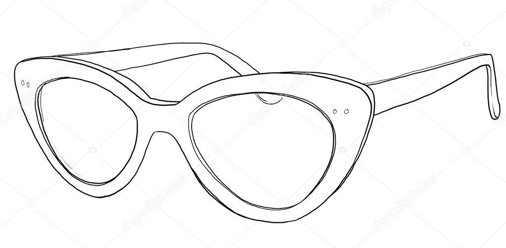 Line Drawing Glasses : Cat eye glasses sunglasses line art — stock photo