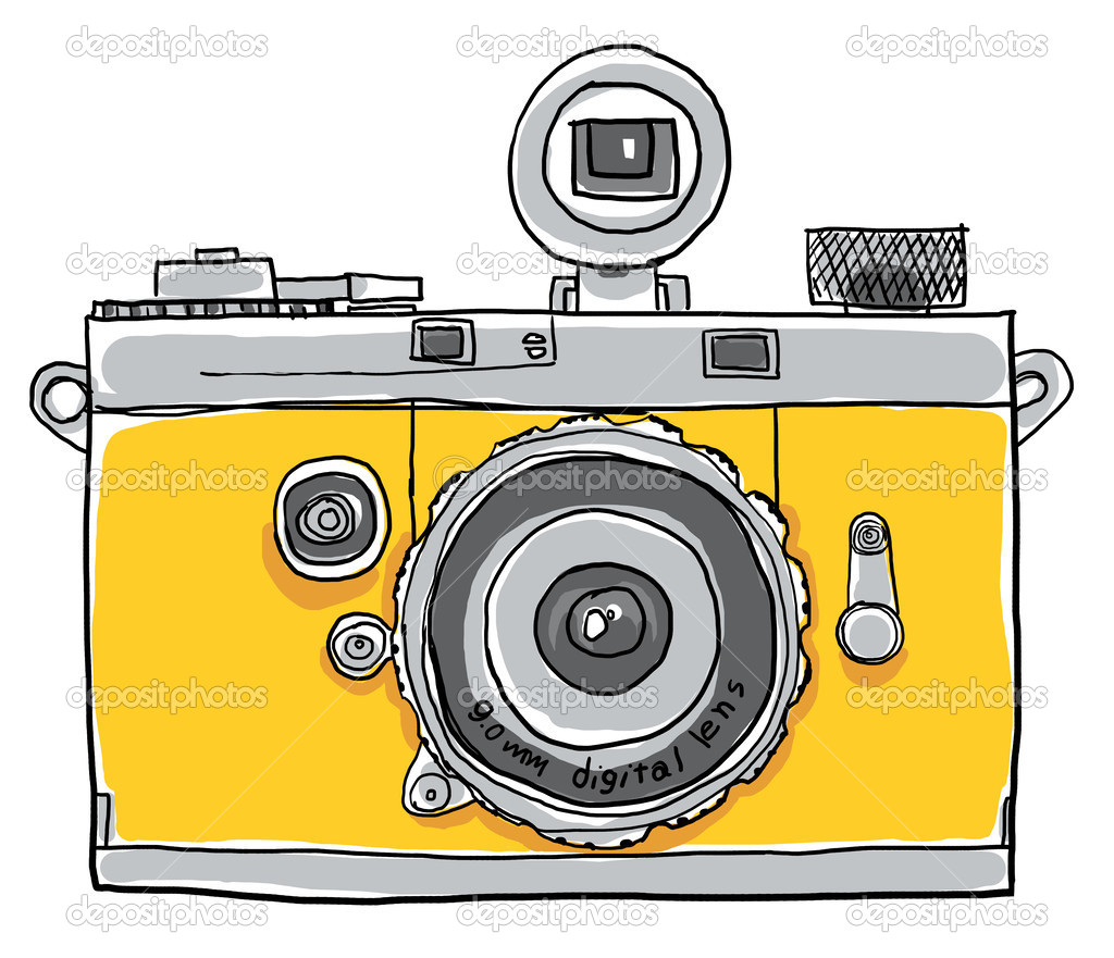 Yellow Camera Vintage Painting Line Art Stock Photo C Gmm2000
