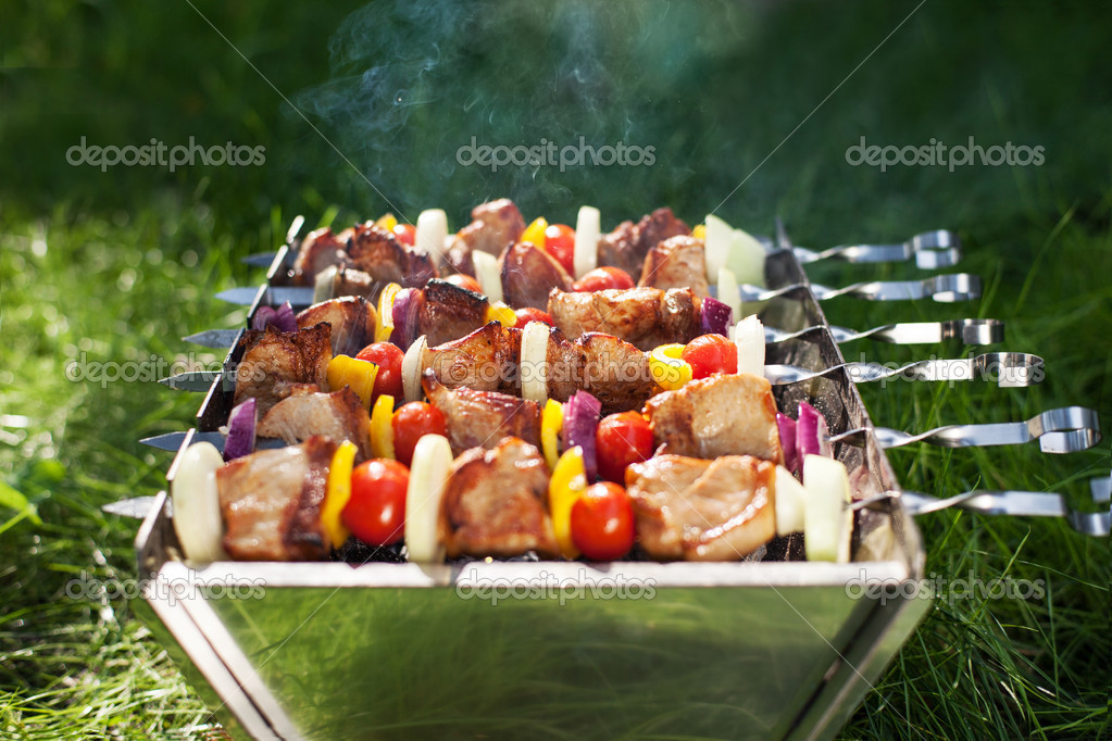 Making Grilled meat on sticks (shashlyk)