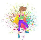 fitness lány zumba tánc vagy a fél