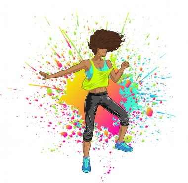 Fitness Girl dancing Zumba or making party, colors in background