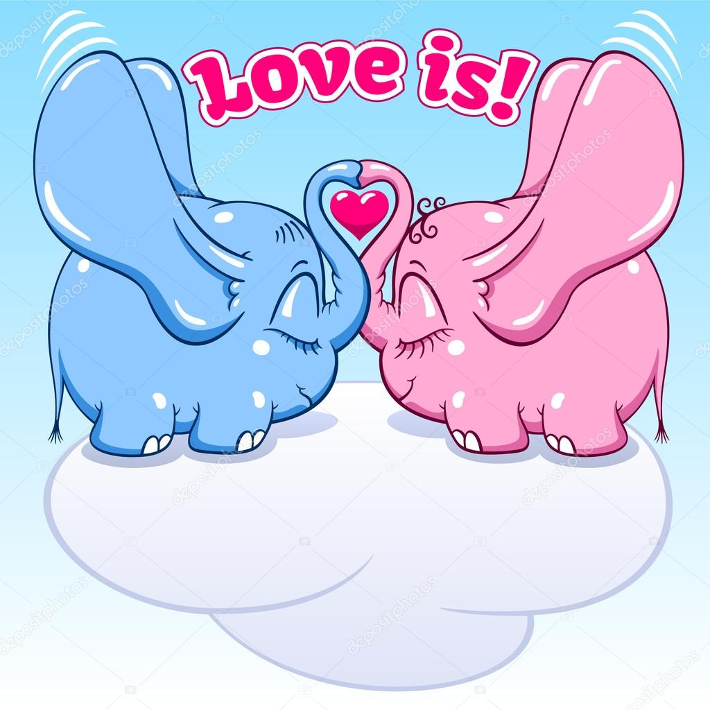 winged baby elephant in love