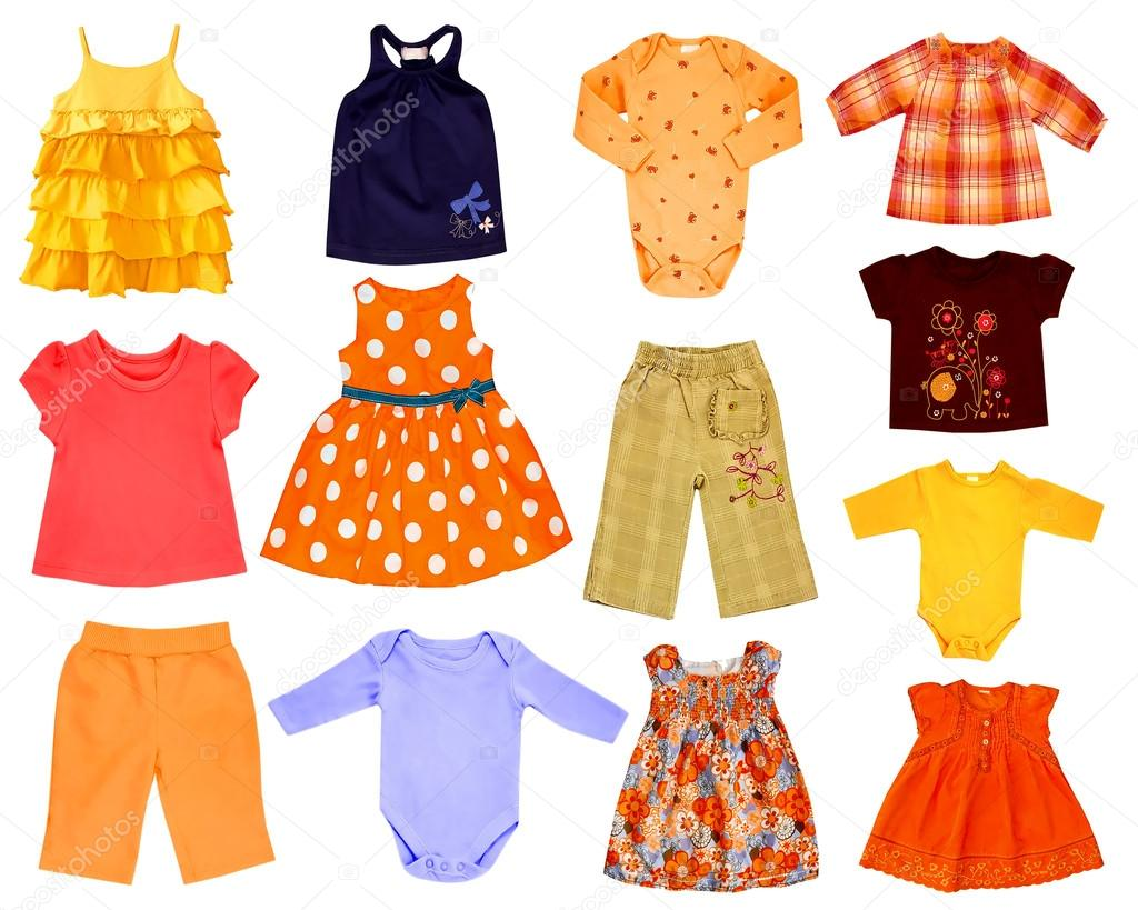8e8400bb6b Collage set of chldren clothes isolated on white — Photo by NYS
