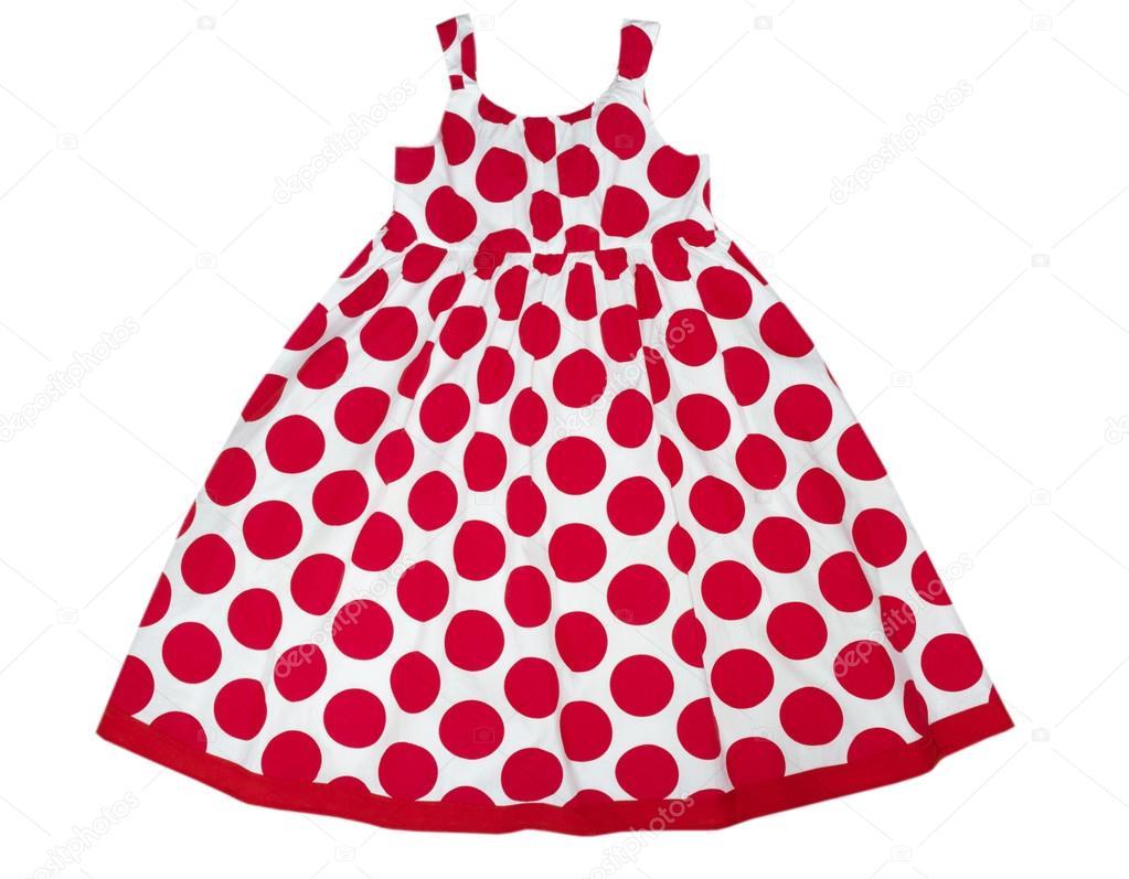 vestido de mujer niño en manchas rojas aislado en blanco. ropa de ...
