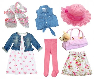 Сollage set gril clothes.
