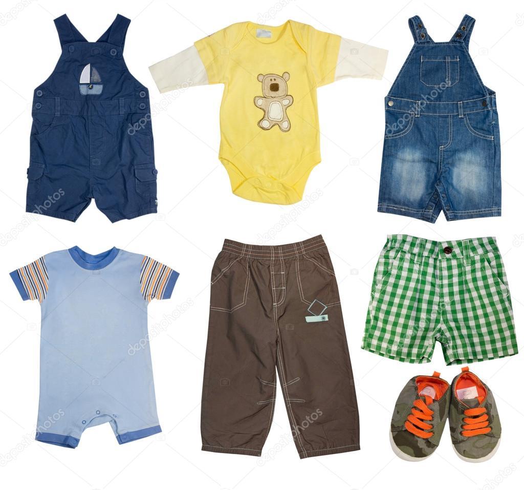 55fc9adf01b12 Moda set de clothes.collage de bebé varón moderno del desgaste del cabrito  chico - collage ropa para niños — Foto de ...