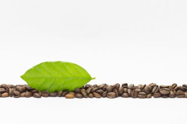 Flavored coffee beans and green leaf