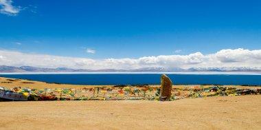 Panorama of Lake Manasarovar. Tibet