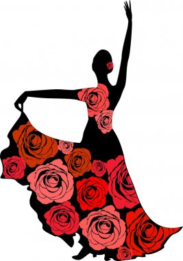 Silhouette of a dancer in a dress with roses