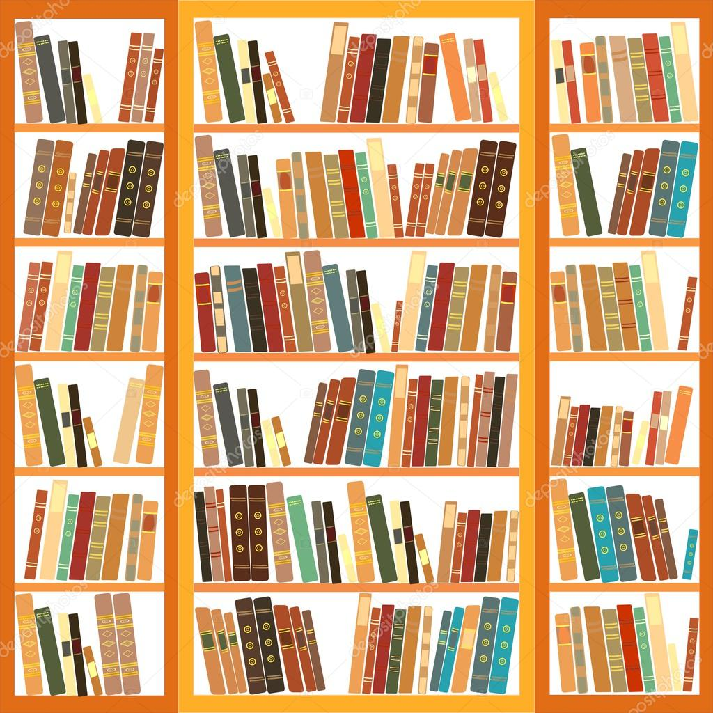 Large bookcase with different books