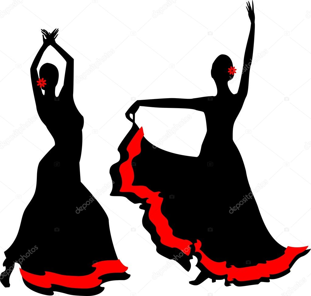 two silhouettes of flamenco dancer stock vector. Black Bedroom Furniture Sets. Home Design Ideas