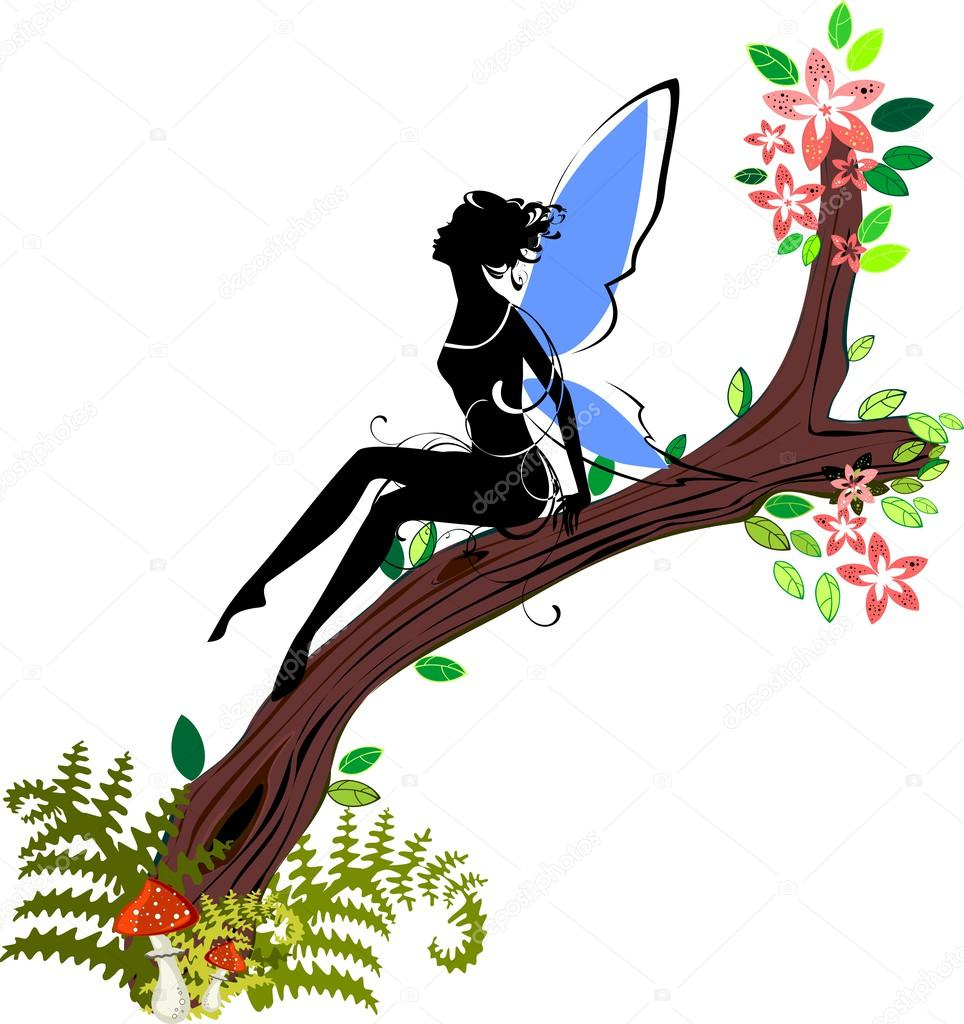 Silhouette of fairy sitting on branch of blossoming tree
