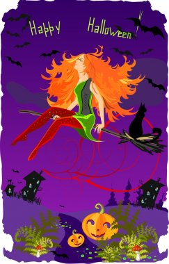 Halloween Card with beautiful witch