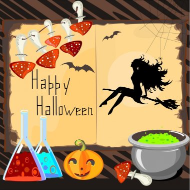 Halloween Card with magical attributes