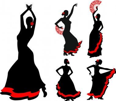 Five silhouettes of flamenco dancer