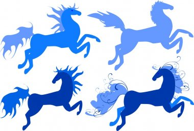 Four blue horses - symbol of 2014 year