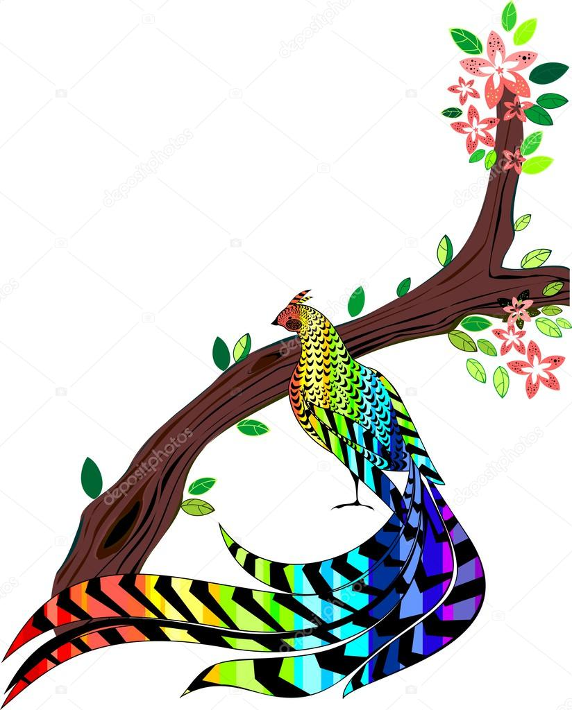 Pheasant painted in the colors of the rainbow