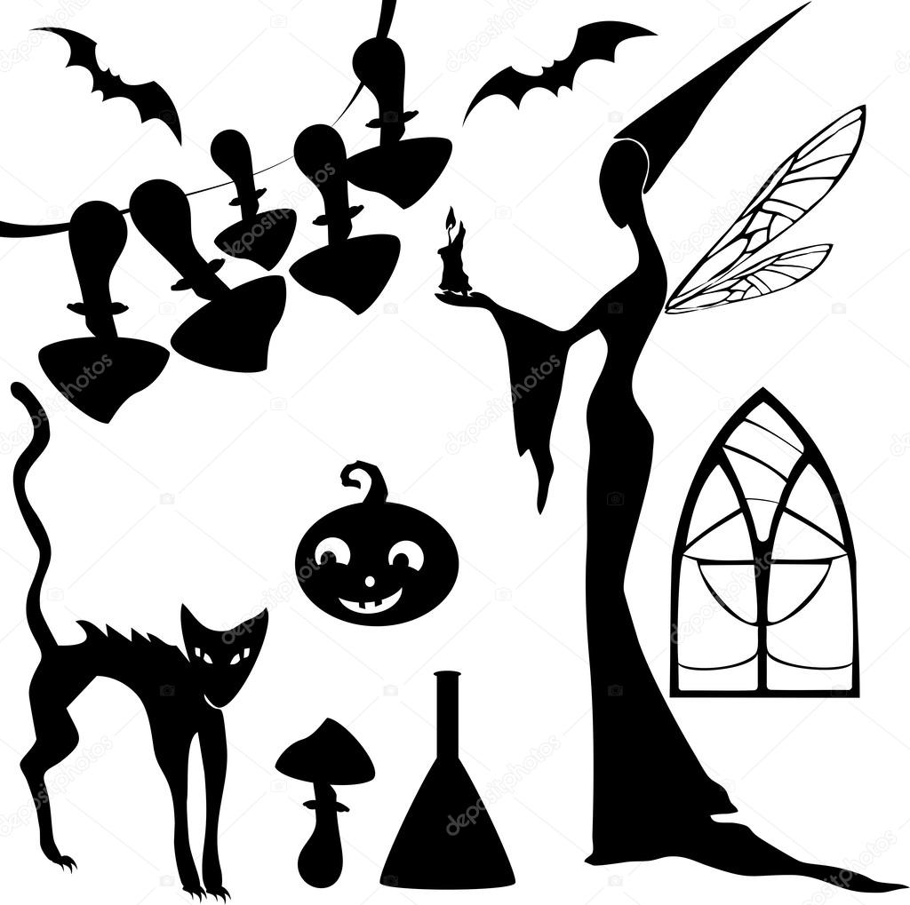 Set of silhouettes for Halloween