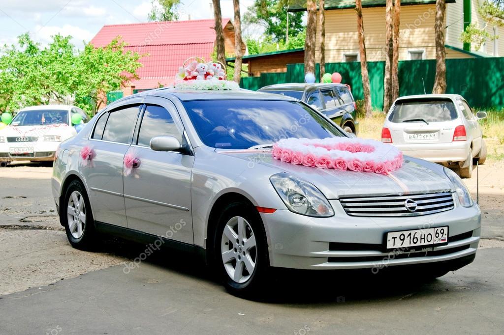 Car Decorate Image Wedding Car Decoration Stock