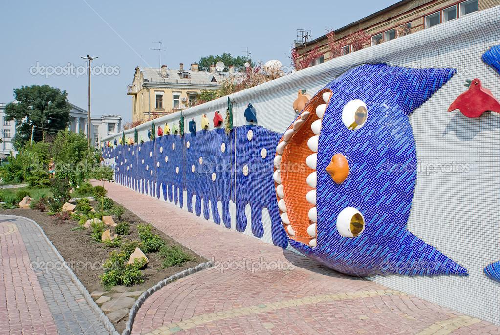 Skulpturierten Zaun Mit Lustige Lange Katze Stockfoto C Simurg