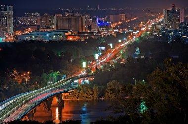 Metro bridge at night in Kiev, Ukraine