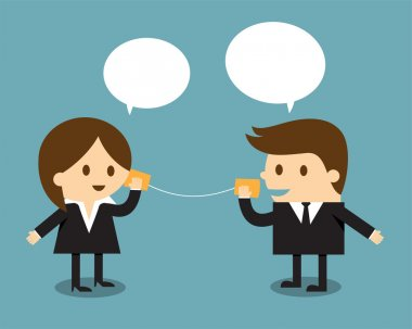 Businessman and woman talking