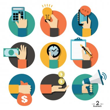 Hands with business object icons set