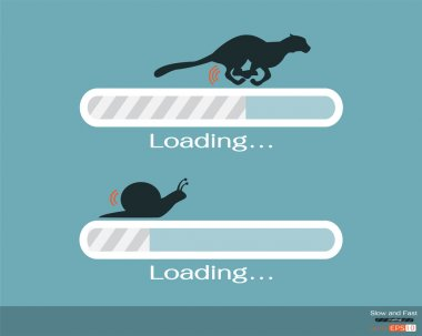 Fast and slow progress loading bar stock vector