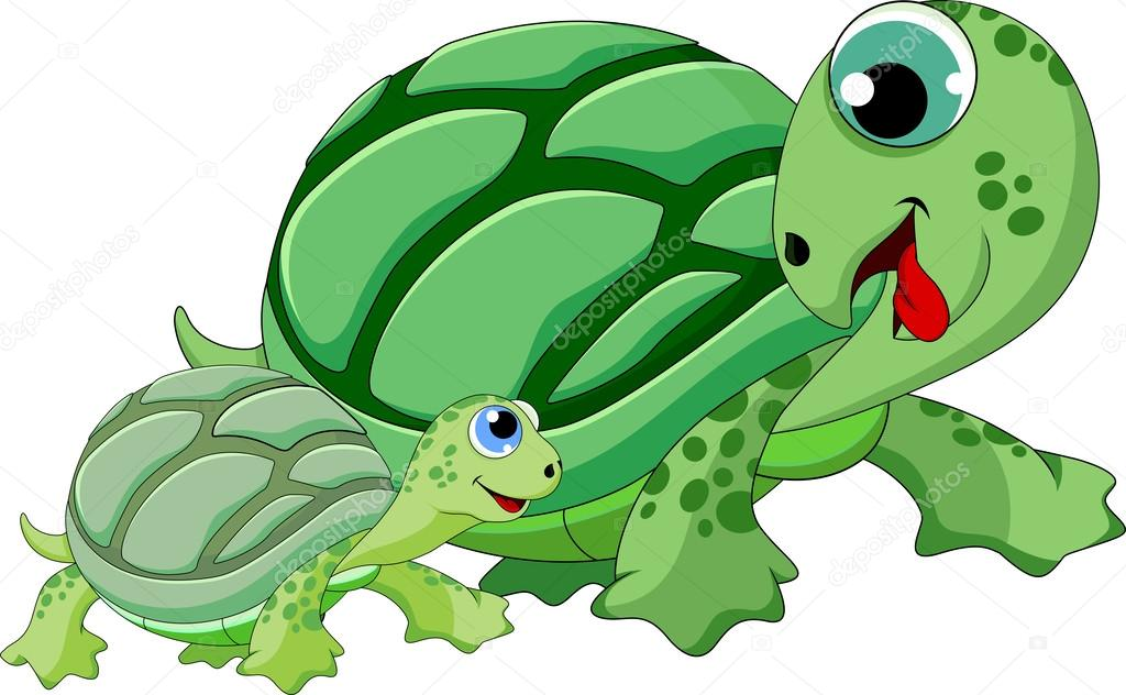Mother and child turtle
