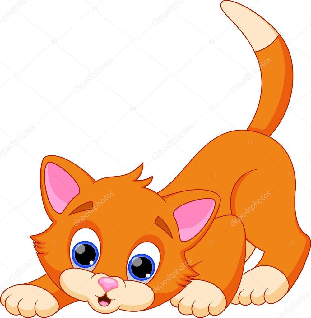 Cartone animato divertente gatto — vettoriali stock