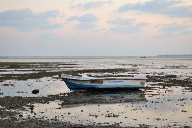 Fishing boat stranded in low tide, Sri Lanka