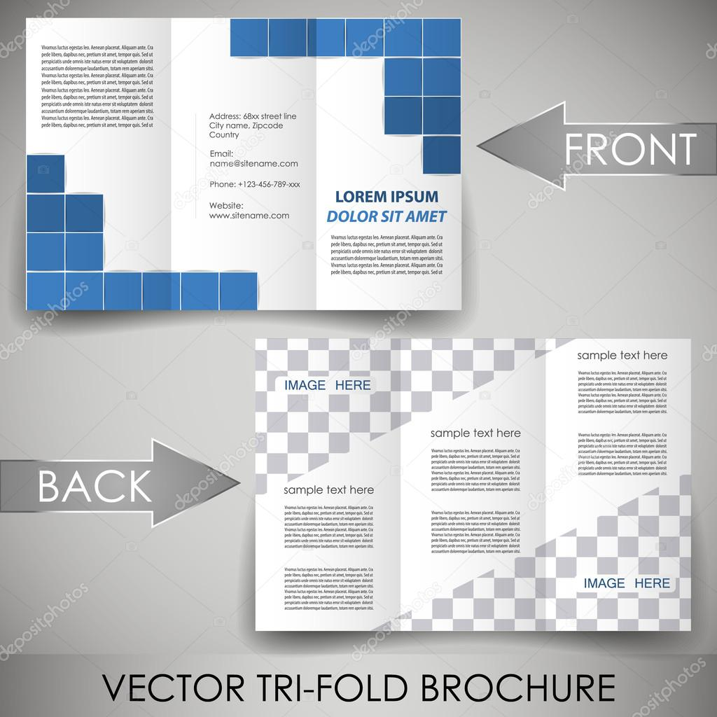 Three fold flyer template corporate brochure Vector – Three Fold Flyer Template