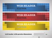 Webové záhlaví s přesné rozměry, sada vektorové bannerů