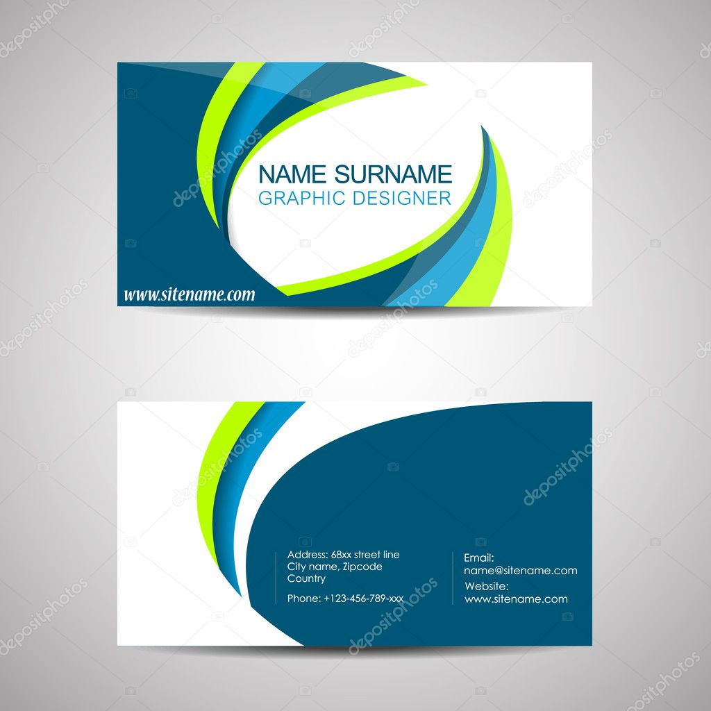 Business card template or visiting card — Stock Vector © ftotti ...