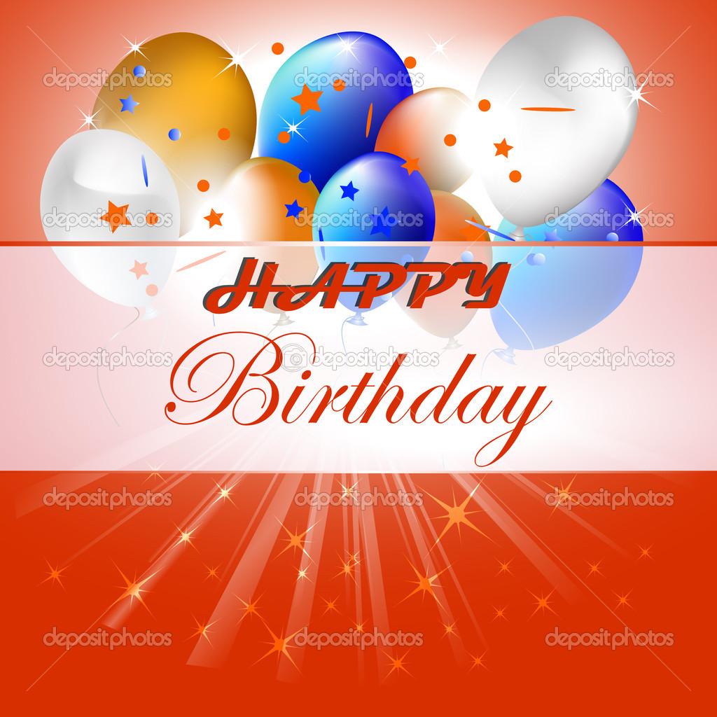 Gelukkige Verjaardag Vectorillustratie Met Ballonnen Op De