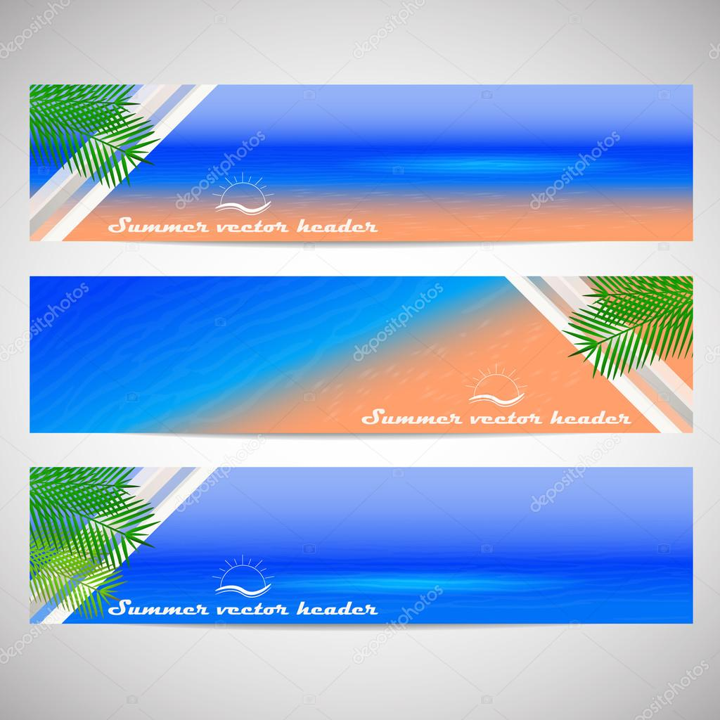 Web headers with summer holiday theme, set of vector banner