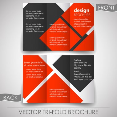 Business tri-fold flyer template, corporate brochure or cover design
