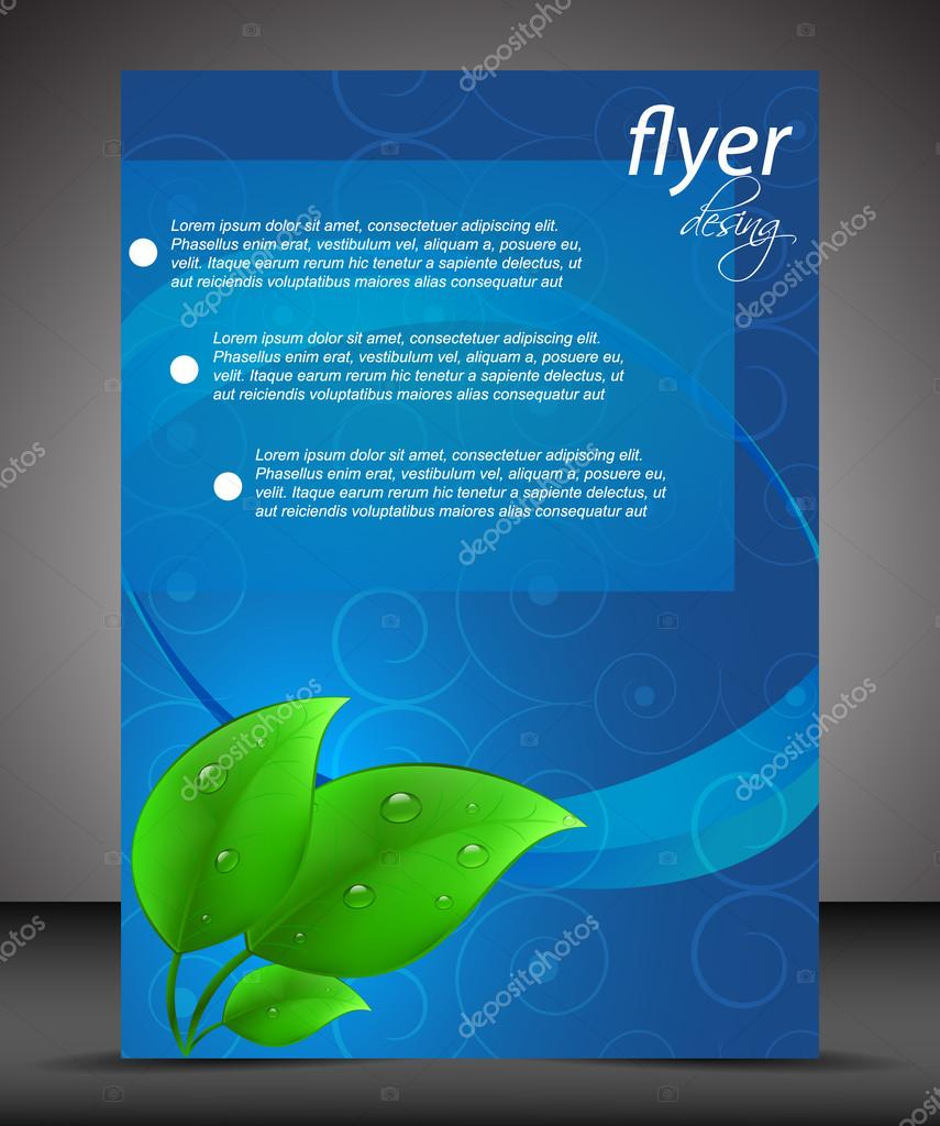 Business flyer template, cover design, green leaves, eco theme