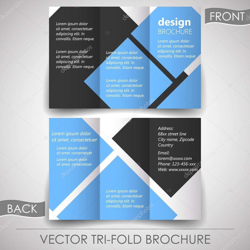 business tri fold flyer template or corporate banner cover design