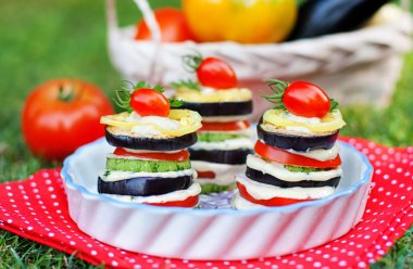 Tasty appetizer of grilled vegetables