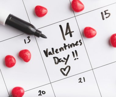 Valentines day written on a whiteboard calender