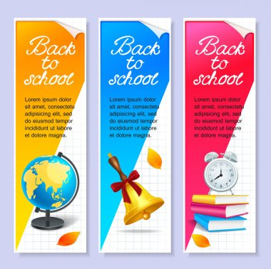 Isolated three back to school horizontal banners