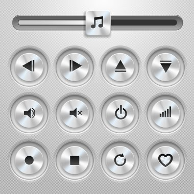Isolated vector media player buttons and audio player