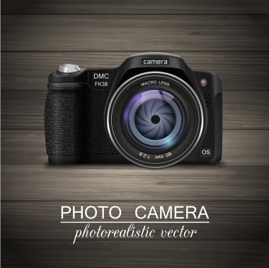 Isolated modern photorealistic photo camera with blue lens on wooden background. Vector illustration