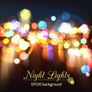 Abstract bright photorealistic blurred bokeh night lights