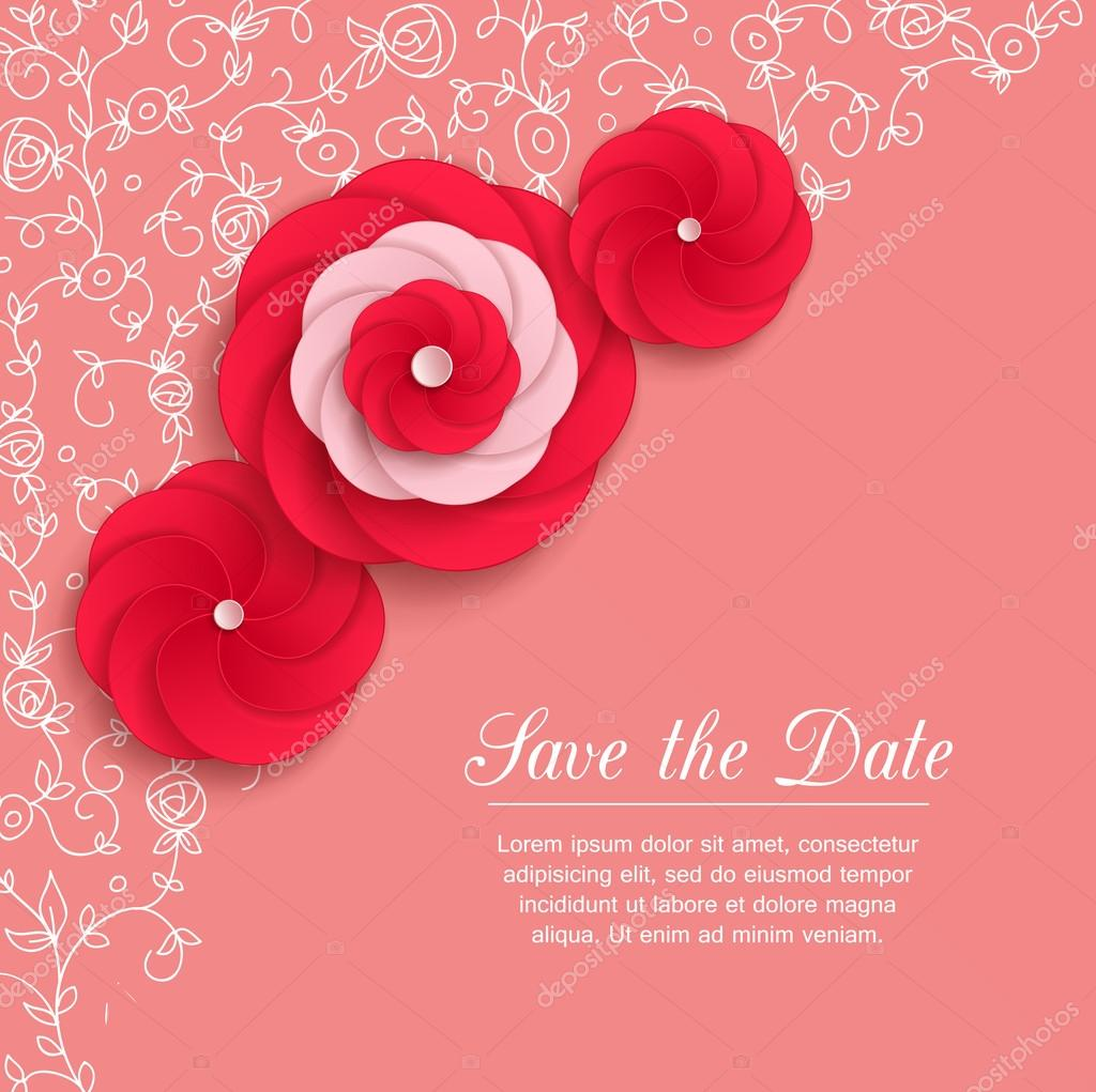 Romantic background with 3d red paper flowers and place for text