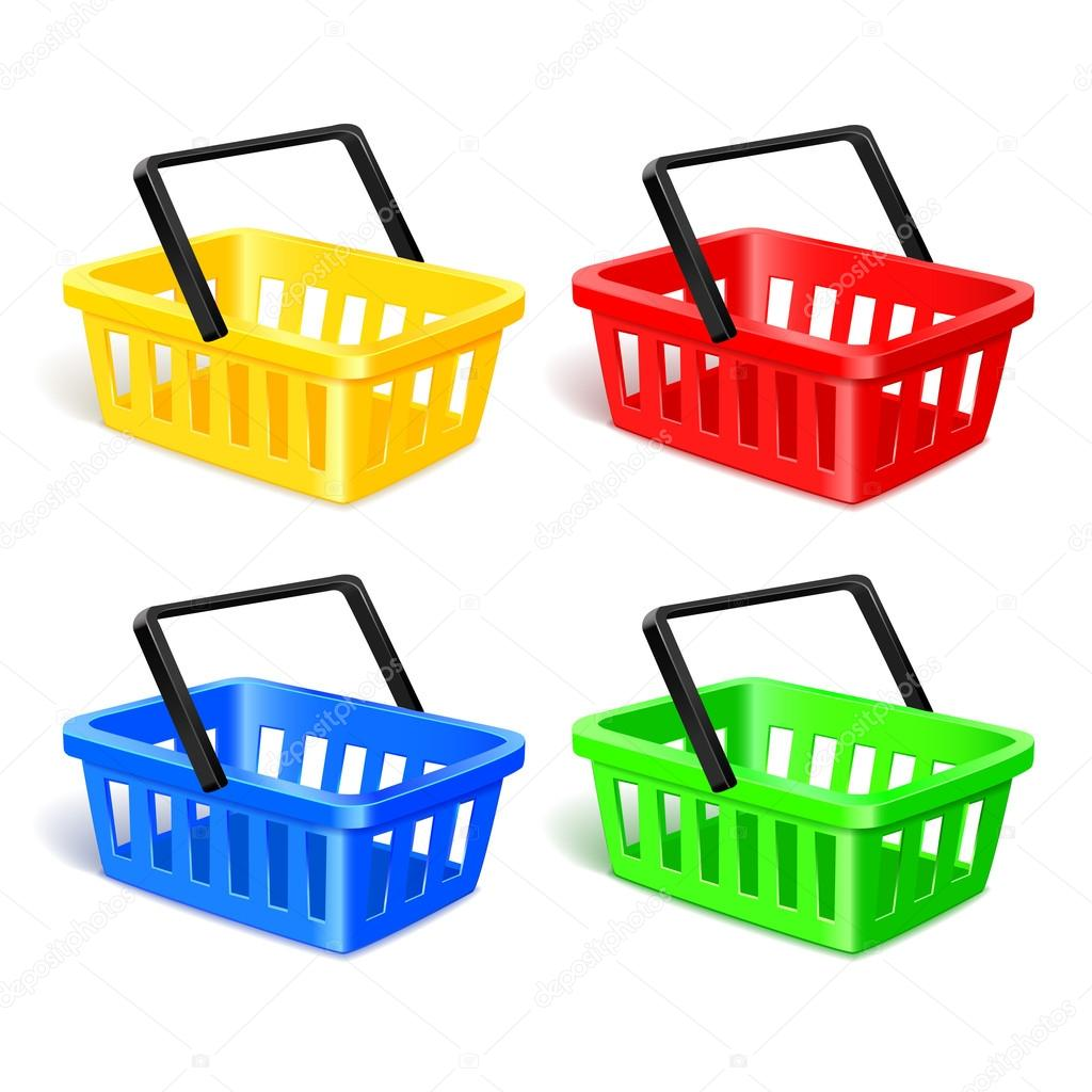 Set of four isolated modern photorealistic yellow, red, blue and green shopping basket icons on white background