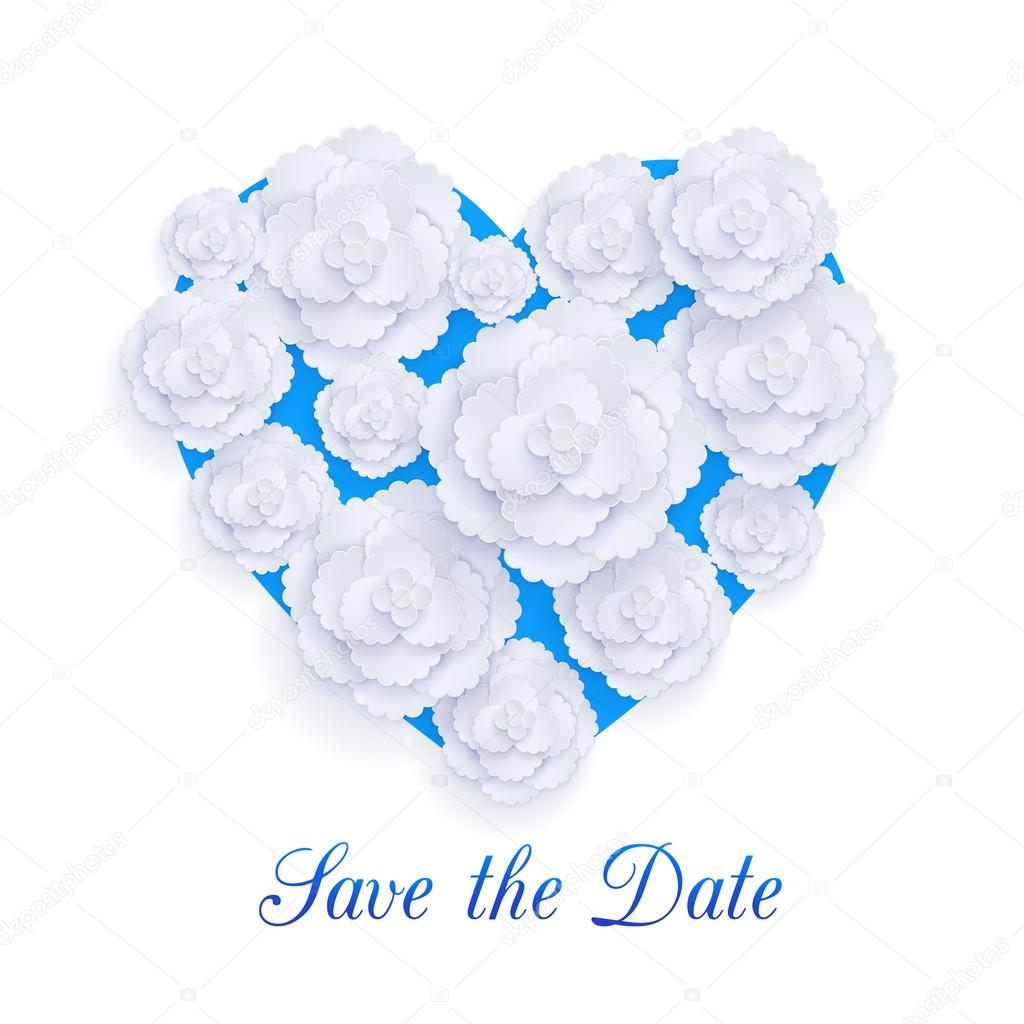Romantic floral background with 3d white paper flowers over blue heart and place for text.